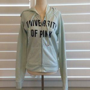 Victoria's Secret Pink teal zip up hoodie sz M